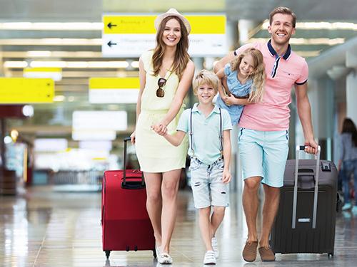 Happy family traveling